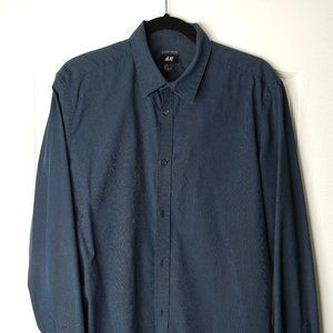 H&M Navy LS Button Up Shirt